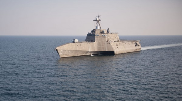 The littoral combat ship USS Independence is shown off the coast of Florida.