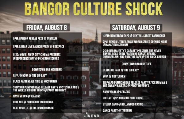 The events lineup for the weekend of Aug. 8-9 in downtown Bangor. Downtown businessowners and officials have been promoting all the events going in town now that KahBang is no longer happening here.