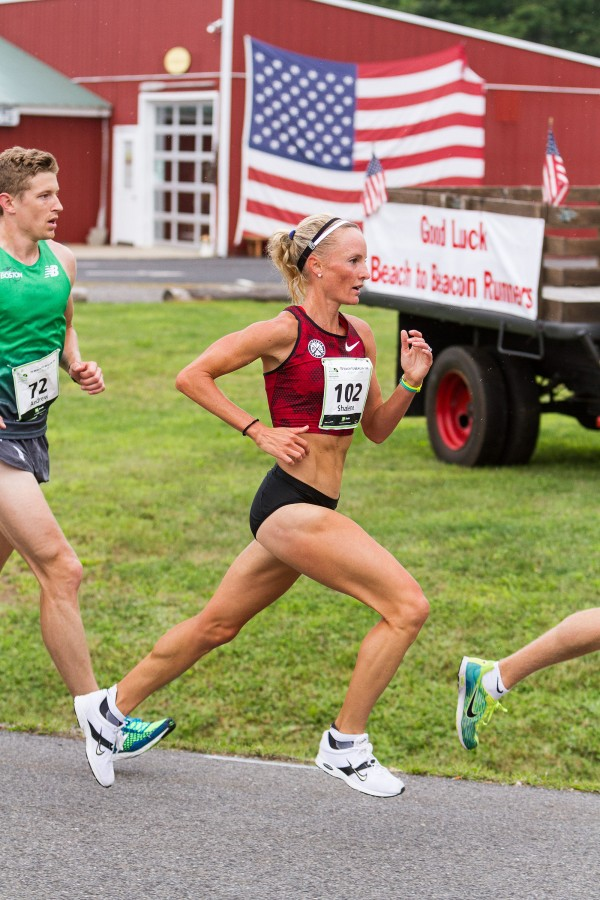 Shalane Flanagan, a top american finisher at the 2014 Boston Marathon, runs in the 2014 Beach to Beacon 10K Saturday in Cape Elizabeth.