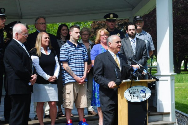 South Portland officials gather in Mill Creek Park on the afternoon of June 5, 2014, to voice their opposition to legalizing recreational marijuana use.