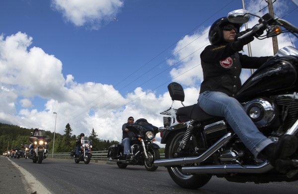 Motorcyclists escort Ann LePage to the beginning of the Freedom Fest on Saturday in Fort Kent.