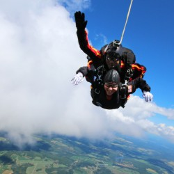 Maine's first lady to skydive with disabled veteran