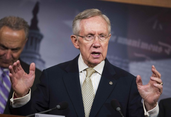 Senate Majority Leader Harry Reid (D-NV) speaks at a press conference about a bill introduced by Senate Democrats to restore the contraceptive coverage requirement guaranteed by the Affordable Care Act on Capitol Hill in Washington on July 10, 2014.