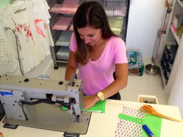 Alaina Marie Harris makes each bait bag by hand in her South Portland shop.