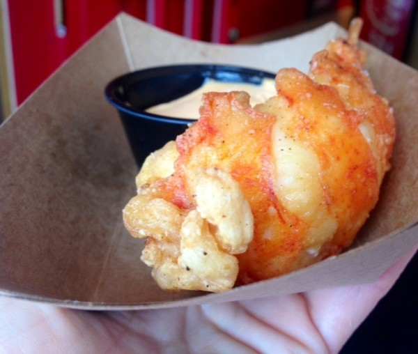 The deep-fried lobster tail at Wicked Tails in Kennebunkport is a portable taste of summer.