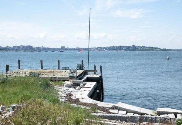 A view of Portland Harbor in 2013 from a granite wharf dating to the 1850s on House Island. The island, bought by developer Michael Scarks in May, could be designated a local historic district.