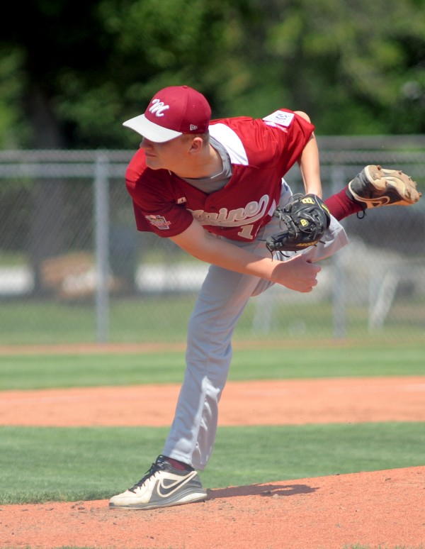 Maine District 3's Nicholas Cowperthwaite delivers a pitch against Canada in the opener of the Senior League World Series Sunday at Mansfield Stadium. Maine won 7-2.