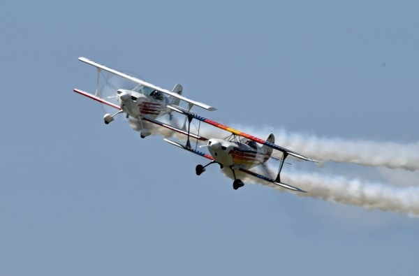 Iron Eagles stunt pilots Bill Gordon and Billy Werth perform aerobatic maneuvers during the Acadian Heritage Air Show in Frenchville on Sunday, Aug. 10. Werth suffered minor injuries after a crash landing in Standish later that evening, while returning home from the air show.
