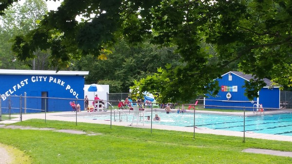 Children take swimming lessons Monday morning at Belfast City Park pool.
