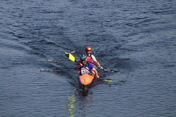 The first Bashabez Run on Aug. 3, a 15.5-mile canoe race from Indian Island to Brewer, was the first canoe race to the tide water of the Penobscot River since the removal of the Great Works and Veazie dams.