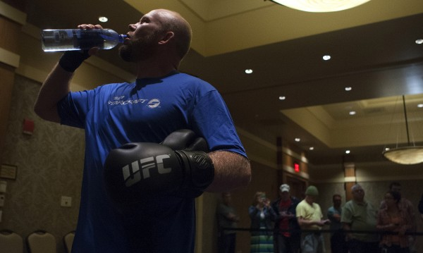 Maine native Tim Boetsch grabs some water during open workouts at Hollywood Casino in Bangor on Thursday in preparation for UFC Fight Night.