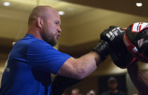 Maine native Tim Boetsch spars during open workouts at Hollywood Casino in Bangor on Thursday in preparation for UFC Fight Night.