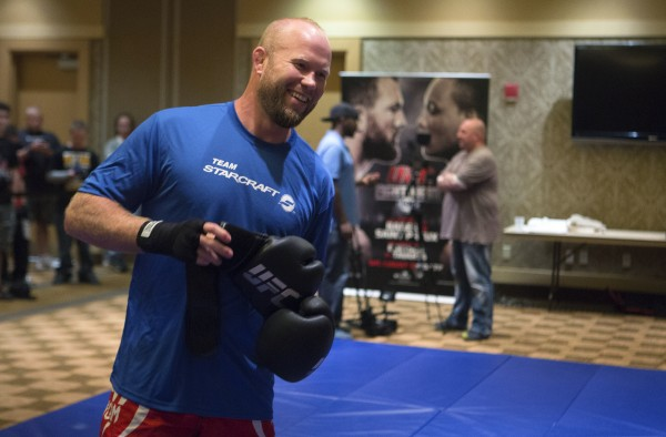 Maine native Tim Boetsch laughs during open workouts at Hollywood Casino in Bangor on Thursday in preparation for UFC Fight Night.