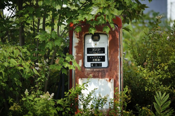 This fuel pump stopped serving customers back when gas cost 36 cents per gallon, in Newry, Maine.