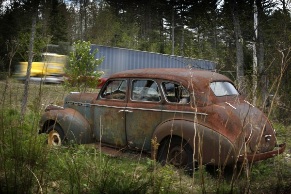 An old Chevy sits just off the road in this photo taken in West Bethel, Maine.