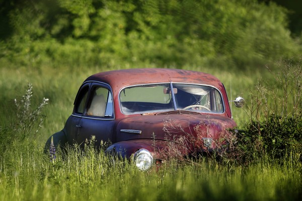 An old relic sits on a field off Route 1 in Waite, Maine.