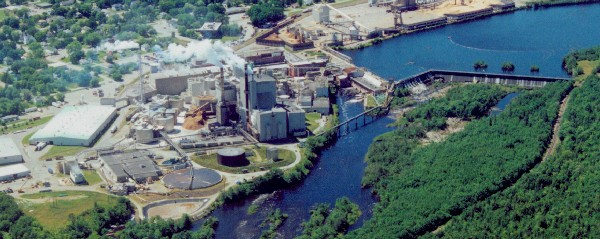 Woodland Pulp is located on the international border between Baileyville, Maine, and New Brunswick, Canada.
