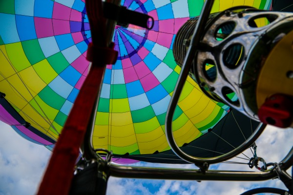 The view into a balloon at the Crown of Maine Balloon Festival in Presque Isle.