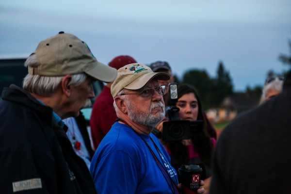 Balloon master Milt Smith, from Presque Isle, tells pilots the balloon launch would be delayed a half hour in hopes of a more favorable wind direction.