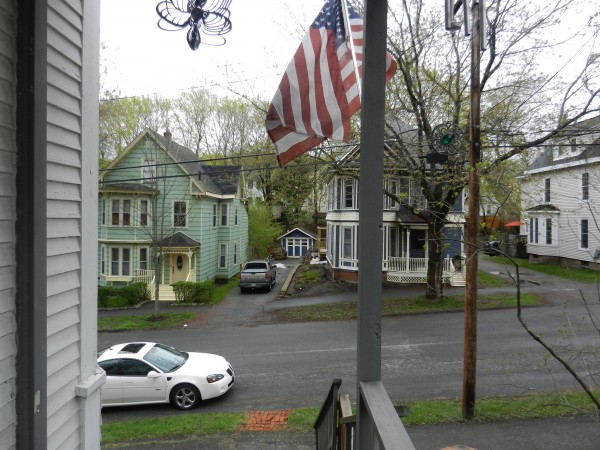 Bangor resident Lisa Prescott keeps an eye out for her neighbors on Second Street, which has had its share of crime-related problems, in this April 2012 file photo.