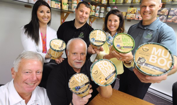 Members of the Gifford family, who are involved with the production and management of the Skowhegan-based Gifford's Famous Ice Cream Company, show off their award-winning product.