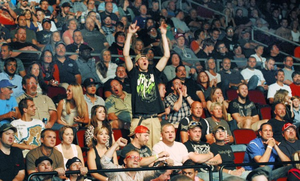 A large crowd packs into the Cross Insurance Center in Bangor for the UFC fights Saturday night.