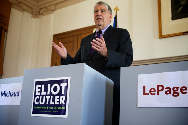 Independent gubernatorial candidate Eliot Cutler slammed rivals Paul LePage and Mike Michaud on Monday in Portland for not agreeing to more debates before the fall election.