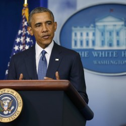 U.S. President Barack Obama makes a statement at the White House in Washington August 1, 2014.