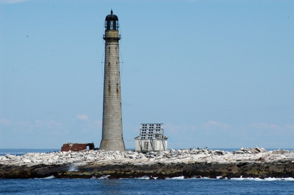 Built in 1855, Boon Island Lighthouse rises 133 feet above its namesake island, located several miles east of York. The tower flashes a white light every five seconds; when weather conditions are right, the fog horn sounds 10 seconds.