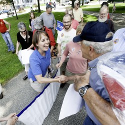 Collins' bus tour starts second day in Lewiston; national PAC launches $300,000 ad blitz for Bellows