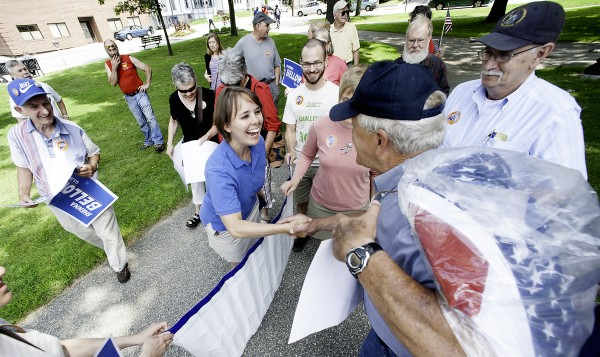 Democratic U.S. Senate candidate Shenna Bellows greets supporters gathered in Lewiston's Kennedy Park on Monday morning before a press conference at Dufrense Plaza on her walk from Houlton to Kittery.