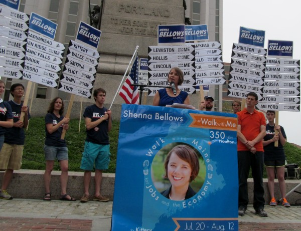 Democratic U.S. Senate candidate Shenna Bellows takes the lectern at a rally in Portland on Tuesday, on the heels of her 350-mile, three-week-plus campaign walk from Houlton to Kittery.