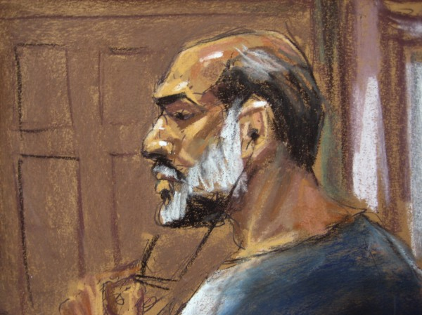 An artist sketch shows Suleiman Abu Ghaith, a militant who appeared in videos as a spokesman for al Qaeda after the Sept. 11, 2001 attacks, appearing at the U.S. District Court in Manhattan March 8, 2013. Abu Ghaith, a son-in-law of Osama bin Laden and one of the highest-ranking al Qaeda figures to be brought to the United States to face a civilian trial, pleaded not guilty on Friday to a charge of conspiracy to kill Americans. The U.S. District Court in Manhattan is only blocks from the site of the World Trade Center.
