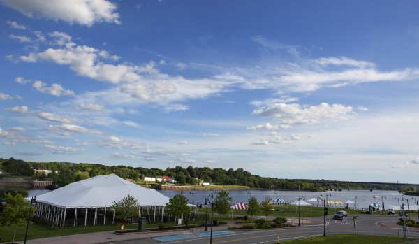 Tents for the 2014 American Folk Festival on the Bangor Waterfront are seen Wednesday.