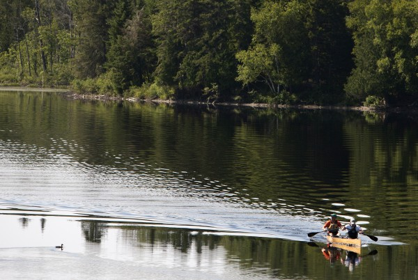 Canoers make their way to Solider Pond for the Saucier family reunion in Wallagrass on Sunday as part of the 2014 World Acadian Congress.
