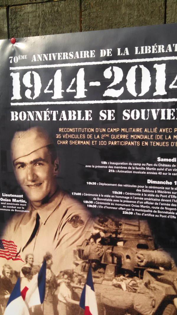 A poster created to promote liberation anniversary celebrations in Bonnetable, France, featuring the image of Onias Martin of Madawaska, Maine, who was killed during a skirmish in Bonnetable.