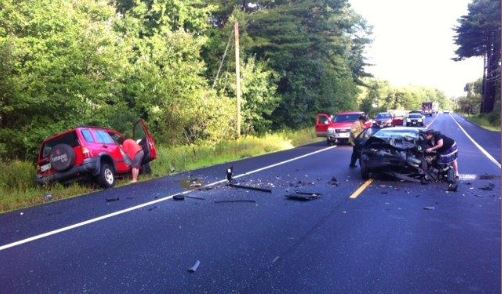 Two women, one from Durham and one from Lisbon, suffered serious injuries when their cars crashed head-on Thursday morning on Route 196.