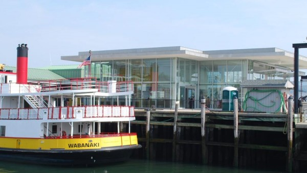 The Wabanaki ferry docks outside the expanded Casco Bay Lines Ferry terminal in Portland. A ceremony to officially open the new space will be held Thursday, Aug. 7.