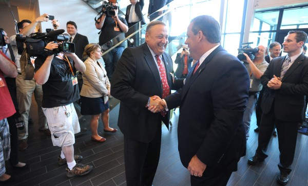 Maine Gov. Paul LePage (left) and New Jersey Gov. Chris Christie visit C&L Aviation in Bangor.