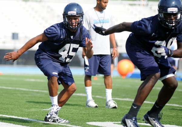 Bangor's Xavier Lewis at U Maine football practice on Monday afternoon.