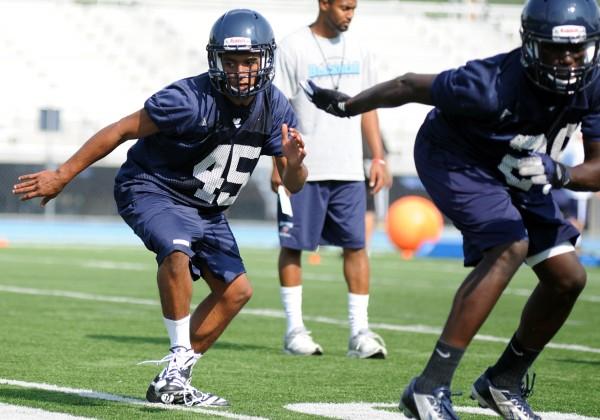 Bangor's Xavier Lewis at U Maine football practice on Monday afternoon.