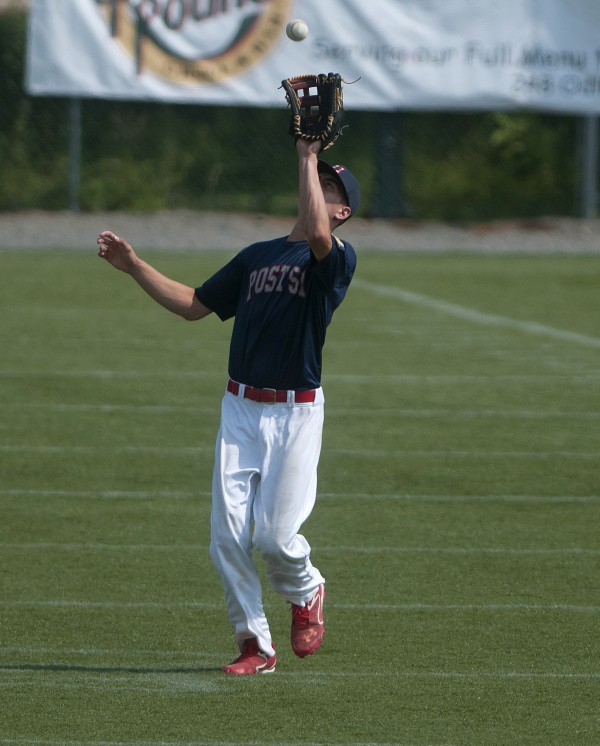 Post 51 of Oakland's Devon Warren catches a fly ball to get an out during their American Legion state baseball tournament game against Pastime Club of Lewiston on Friday at Husson University in Bangor.