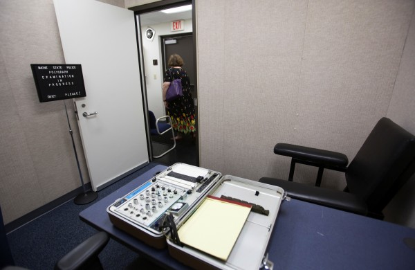 The polygraph room is seen during the grand opening of the new state police barracks in Bangor on Wednesday.