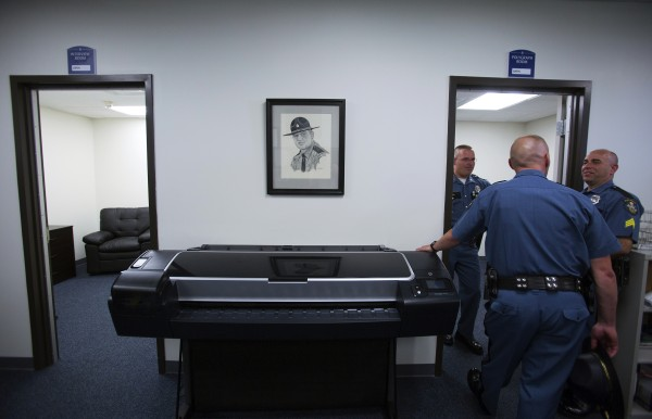 The interview and polygraph rooms are seen during the grand opening of the new state police barracks in Bangor on Wednesday.