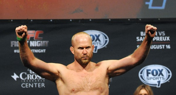 Lincolnville native UFC fighter Tim Boetsch poses during the weigh-in at the Cross Insurance Center in Bangor Friday. Boetsch will face Brad Tavares Saturday during the UFC fight night.