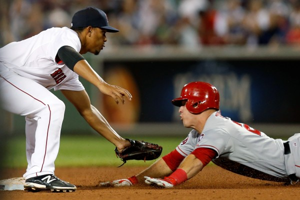 Los Angeles Angels' Mike Trout is caught stealing by Boston Red Sox shortstop Xander Bogaerts during the ninth inning at Fenway Park in Boston Thursday night.