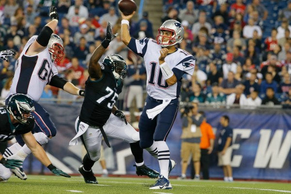 New England Patriots quarterback Jimmy Garoppolo (10) throws a pass against the Philadelphia Eagles in the second quarter during a preseason game at Gillette Stadium in Foxborough, Massachusetts, Friday night.