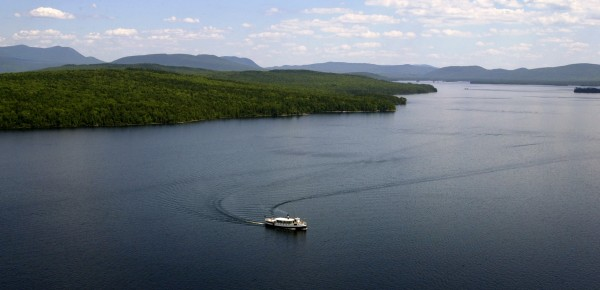 The steamship Katahdin cruises on Moosehead Lake.