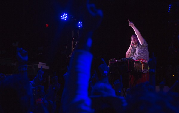 Dan Deacon amps up the crowd before the Arcade Fire show Wednesday at the Darling's Waterfront Pavilion in Bangor.