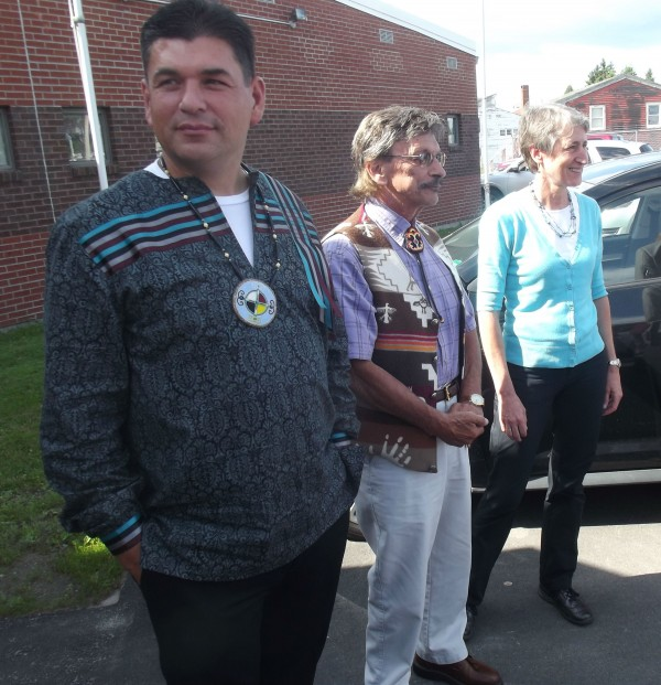 Joseph Socobasin (from left), governor of the Passamaquoddy Tribe reservation at Indian Township; Clayton Cleaves, governor of the Passamaquoddy Tribe reservation at Pleasant Point; and U.S. Secretary of Interior Sally Jewell wait for a tour of the Beatrice Rafferty School on Monday.